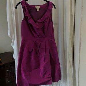 J. Crew purple silk ruffle dress - size 6